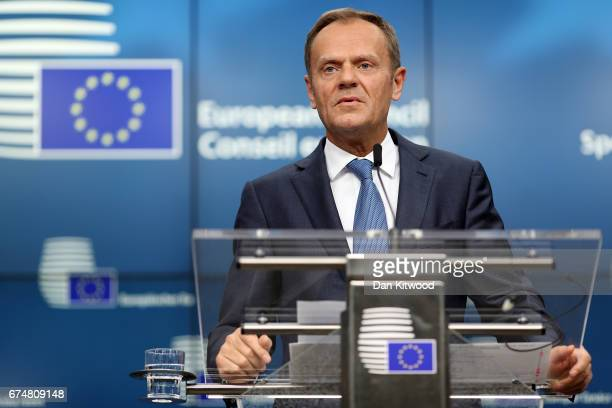 President of the European Council Donald Tusk speaks during a press conference after an EU Council meeting on April 29 2017 in Brussels Belgium The...