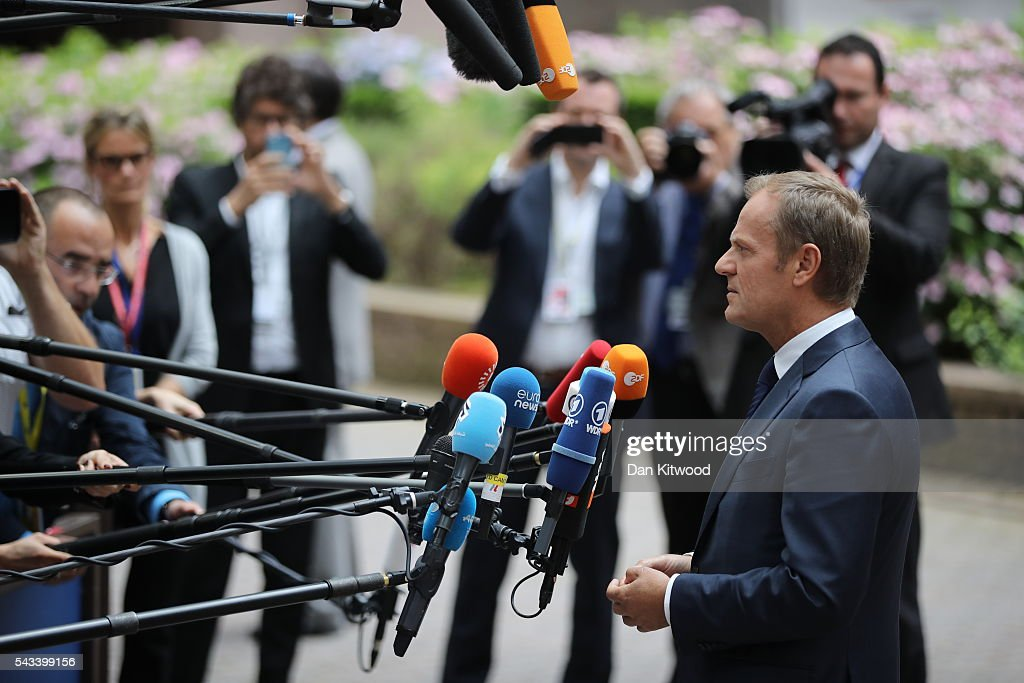 President of the European Council, <a gi-track='captionPersonalityLinkClicked' href=/galleries/search?phrase=Donald+Tusk&family=editorial&specificpeople=870281 ng-click='$event.stopPropagation()'>Donald Tusk</a> speaks to the media ahead of a European Council Meeting at the Council of the European Union on June 28, 2016 in Brussels, Belgium. British Prime Minister David Cameron will hold talks with other EU leaders in what will likely be his final scheduled meeting with the full European Council before he stands down as Prime Minister. The meetings come at a time of economic and political uncertainty following the referendum result last week which saw the UK vote to leave the European Union.