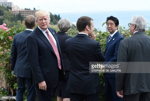 President of the European Council Donald Tusk US President Donald Trump Britain's Prime Minister Theresa May French President Emmanuel Macron...