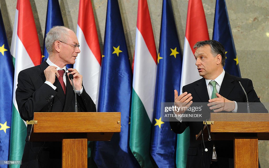 President of the European Council Herman van Rompuy (L) and his host Hungarian Prime Minister Viktor Orban (R) give a joint press conference at the delegation hall of the parliament building in Budapest on February 27, 2013. Van Rompuy is on a one-day working visit to Hungary.