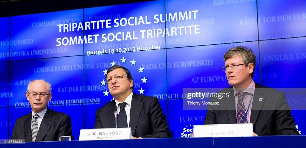 President of the European Council Herman VAN ROMPUY and the President of the European Commission Jose Manuel BARROSO and the EU Employment Social...