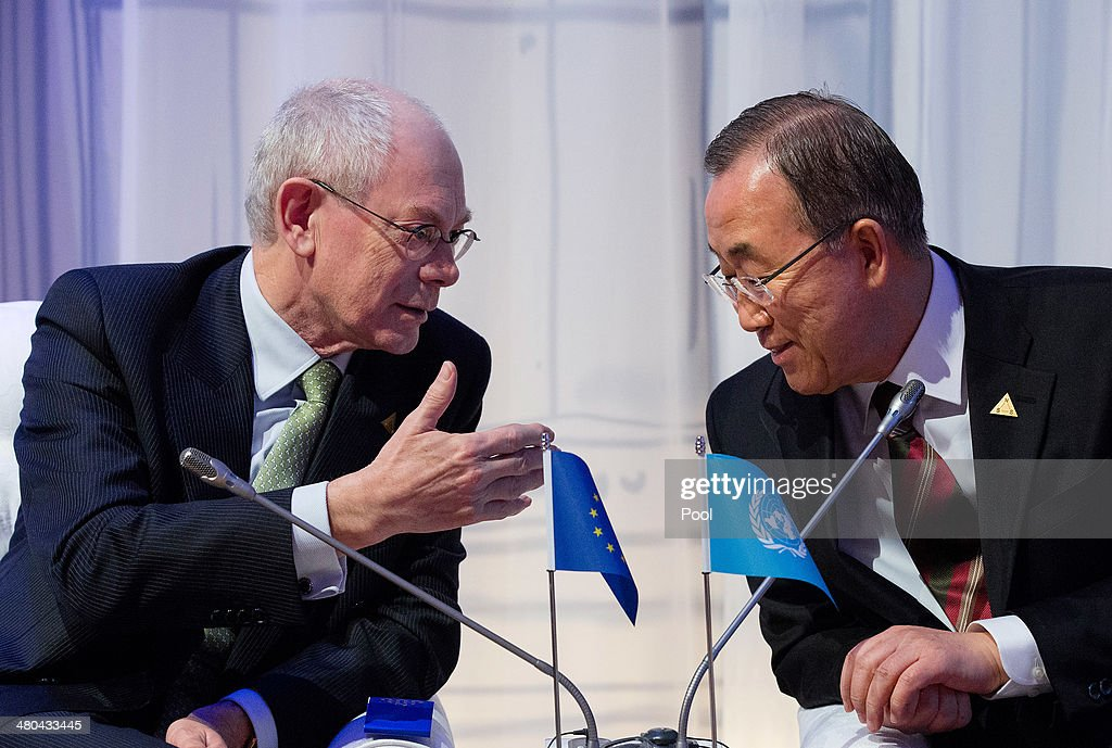 President of the European Council, Herman van Rompuy (L) and U.N. Secretary General Ban Ki-Moon speak during an informal plenary session of the 2014 Nuclear Security Summit on March 25, 2014 in The Hague, Netherlands. Leaders from around the world have come to discuss matters related to international nuclear security, though the summit has been overshadowed by recent events in Ukraine.