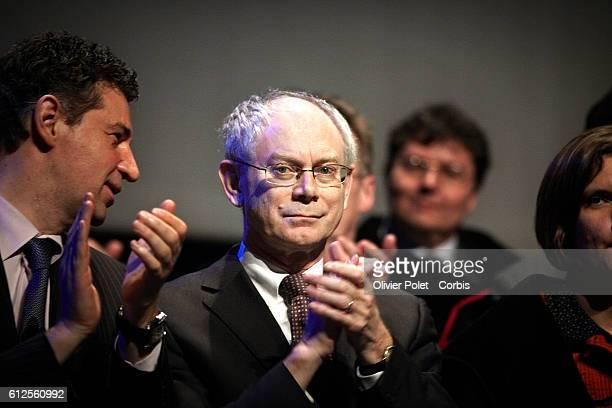 President of the European Council Herman Van Rompuy applauds during the 'Doctorat honoris causa' award ceremony | Location LouvainlaNeuve Belgium