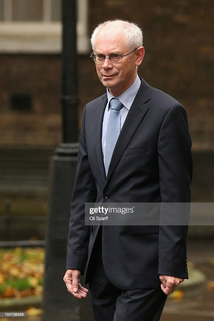 President of the European Council <a gi-track='captionPersonalityLinkClicked' href=/galleries/search?phrase=Herman+Van+Rompuy&family=editorial&specificpeople=4476281 ng-click='$event.stopPropagation()'>Herman Van Rompuy</a> arrives in Downing Street to meet with British Prime Minister David Cameron on October 25, 2012 in London, England. The pair of leaders are expected to discuss a planned increase in the EU budget as Mr Cameron has threatened to veto any above inflation long-term increase in spending.