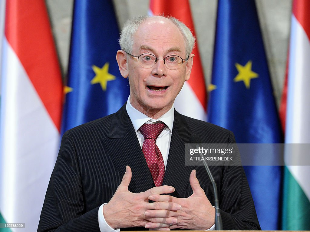 President of the European Council Herman van Rompuy gives a press conference at the delegation hall of the parliament building in Budapest on February 27, 2013. Van Rompuy is on a one-day working visit to Hungary.
