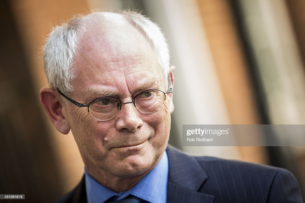 President of the European Council <a gi-track='captionPersonalityLinkClicked' href=/galleries/search?phrase=Herman+Van+Rompuy&family=editorial&specificpeople=4476281 ng-click='$event.stopPropagation()'>Herman Van Rompuy</a> leaves Downing Street after meeting with British Prime Minster David Cameron on June 23, 2014 in London, England. The Prime Minister is meeting with the Council President Herman van Rompuy in London to press his case against the appointment of Jean-Claude Juncker as head the European Commission.