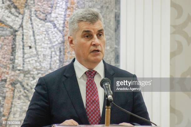President of the European Parliament Antonio Tajani and Speaker of the Parliament of Montenegro Ivan Brajovic hold a joint press conference after...