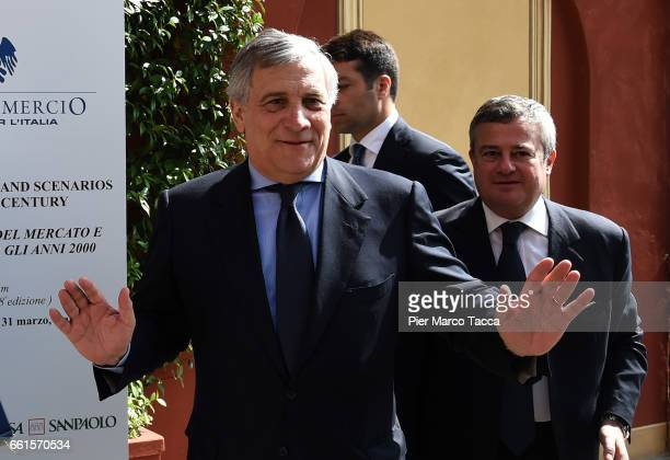 President of the European Parliament Antonio Tajani attends the Confcommercio Forum at Villa d'Este Hotel on March 31 2017 in Como Italy Themes...