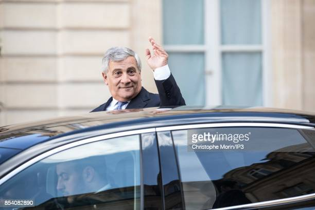 President of the European Parliament Antonio Tajani leaves after a meeting with French President Emmanuel Macron at the Elysee Palace on September 22...