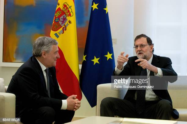 President of the European Parliament Antonio Tajani meets Spanish Prime Minister Mariano Rajoy at Moncloa Palace on February 10 2017 in Madrid Spain...