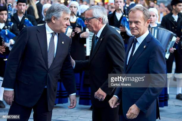 OVIEDO SPAIN OCTOBER President of the European Parliament Antonio Tajani President of the European Commission JeanClaude Juncker and President of the...