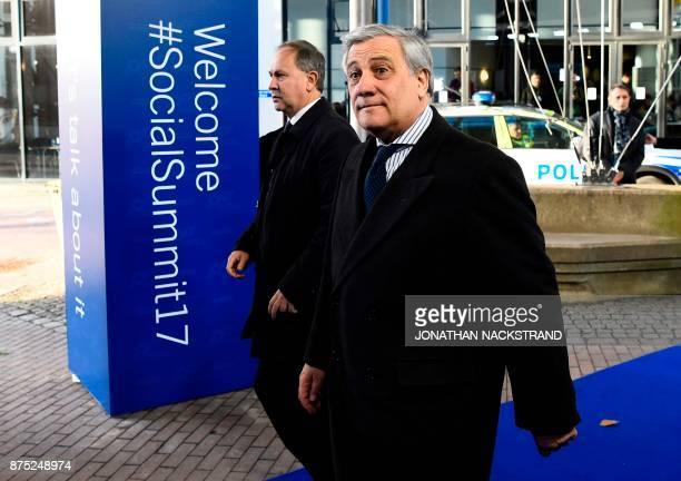 President of the European Parliament Italian Antonio Tajani arrives to attend the European Social Summit in Gothenburg Sweden on November 17 2017...