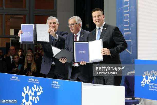 President of the European Parliament Italian Antonio Tajani President of the European Commission JeanClaude Juncker and Estonia's Prime Minister Juri...