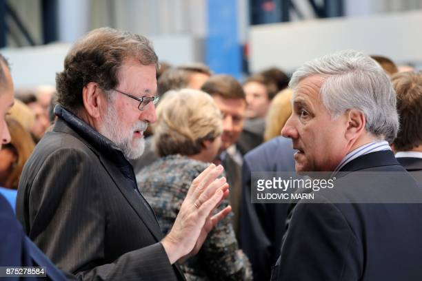 President of the European Parliament Italian Antonio Tajani talks with Spain's Prime Minister Mariano Rajoy during the European Social Summit in...