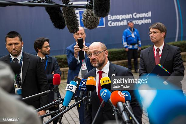President of the European Parliament Martin Schulz addresses assembled media as he arrives at the Council of the European Union on the first day of a...