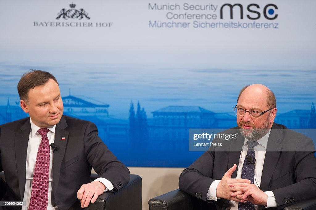 President of the European Parliament, <a gi-track='captionPersonalityLinkClicked' href=/galleries/search?phrase=Martin+Schulz&family=editorial&specificpeople=598638 ng-click='$event.stopPropagation()'>Martin Schulz</a> (R) and Polish President <a gi-track='captionPersonalityLinkClicked' href=/galleries/search?phrase=Andrzej+Duda&family=editorial&specificpeople=4331018 ng-click='$event.stopPropagation()'>Andrzej Duda</a> attend the 2016 Munich Security Conference at the Bayerischer Hof hotel on February 13, 2016 in Munich, Germany. The annual event brings together government representatives and security experts from across the globe and this year the conflict in Syria will be the main issue under discussion.