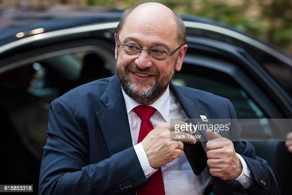 President of the European Parliament Martin Schulz arrives at the Council of the European Union on the first day of a two day summit on October 20...