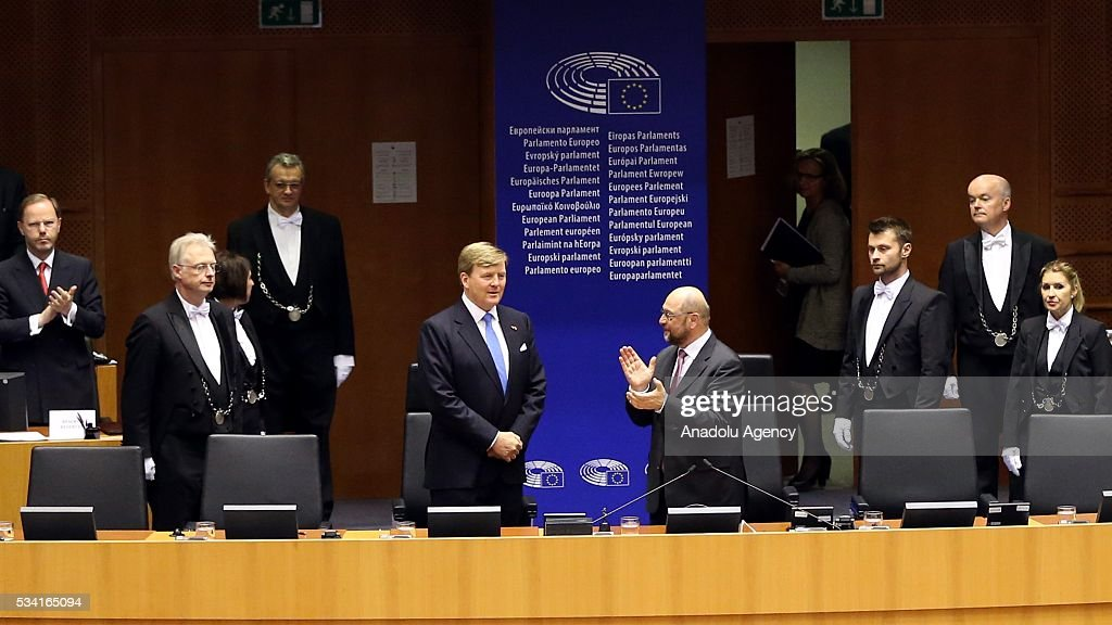 President of the European Parliament Martin Schulz (center L) Dutch King Willem-Alexander (center R) gestures at European Parliament's general assembly hall after their meeting at in Brussels, Belgium on May 25, 2016.