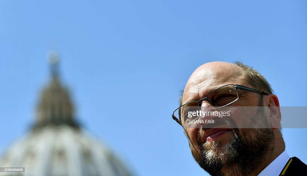 President of the European Parliament Martin Schulz speaks on May 6, 2016 in Rome, during a press conference at the end of the award ceremony of the Charlemagne Prize. Pope Francis was presented with the EU's Charlemagne Prize for his contribution to European unification. European Commission President Jean-Claude Juncker and European Parliament President Martin Schulz explained the decision to give the award to such a regular and prominent critic of the EU in a column for France's Le Monde. / AFP / TIZIANA