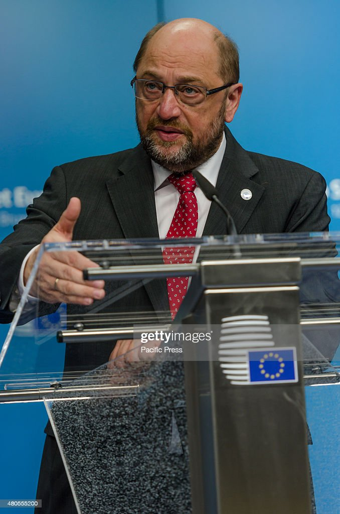 President of the European Parliament Martin Schulz, speaks to the press during the special Greece - EU summit in Brussels.