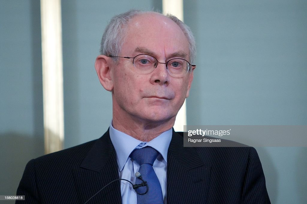 President of the European Union <a gi-track='captionPersonalityLinkClicked' href=/galleries/search?phrase=Herman+Van+Rompuy&family=editorial&specificpeople=4476281 ng-click='$event.stopPropagation()'>Herman Van Rompuy</a> talks to the media at the press conference ahead of the Nobel Peace Prize on December 9, 2012 in Oslo, Norway.