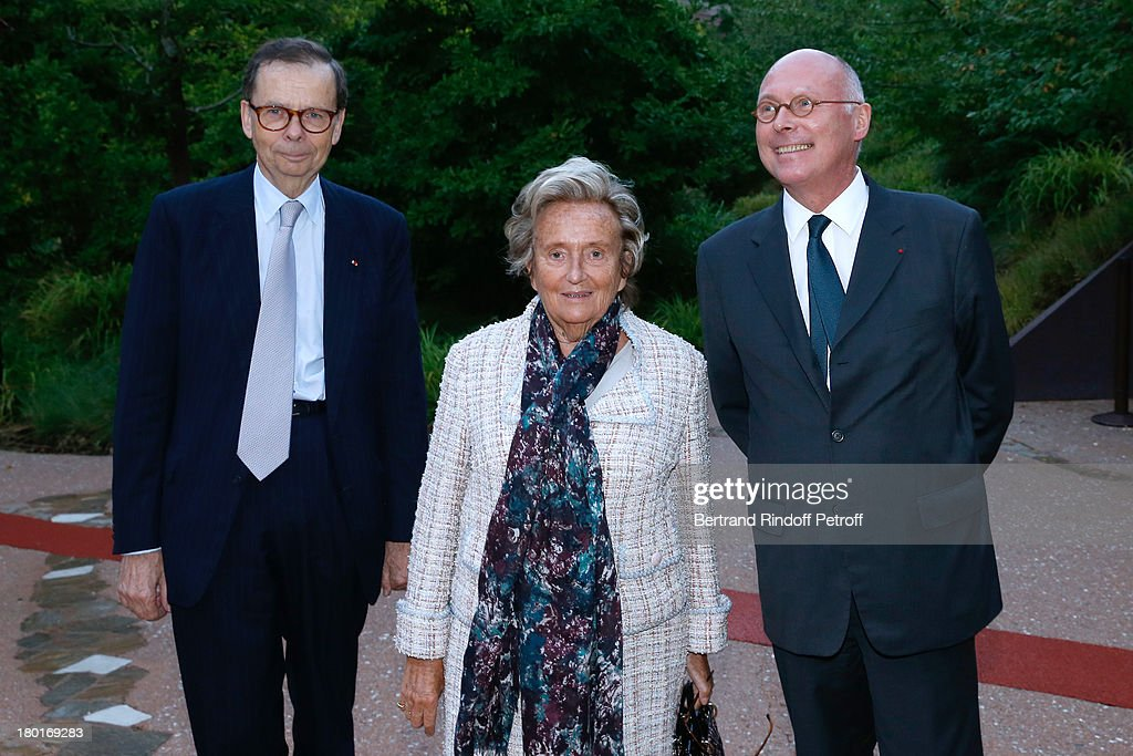 President of the event Louis Schweitzer, Bernadette Chirac and CEO of Quai Branly Museum Stephane Martin attend 'Friends of Quai Branly Museum Society' dinner party at Musee du Quai Branly on September 9, 2013 in Paris, France.