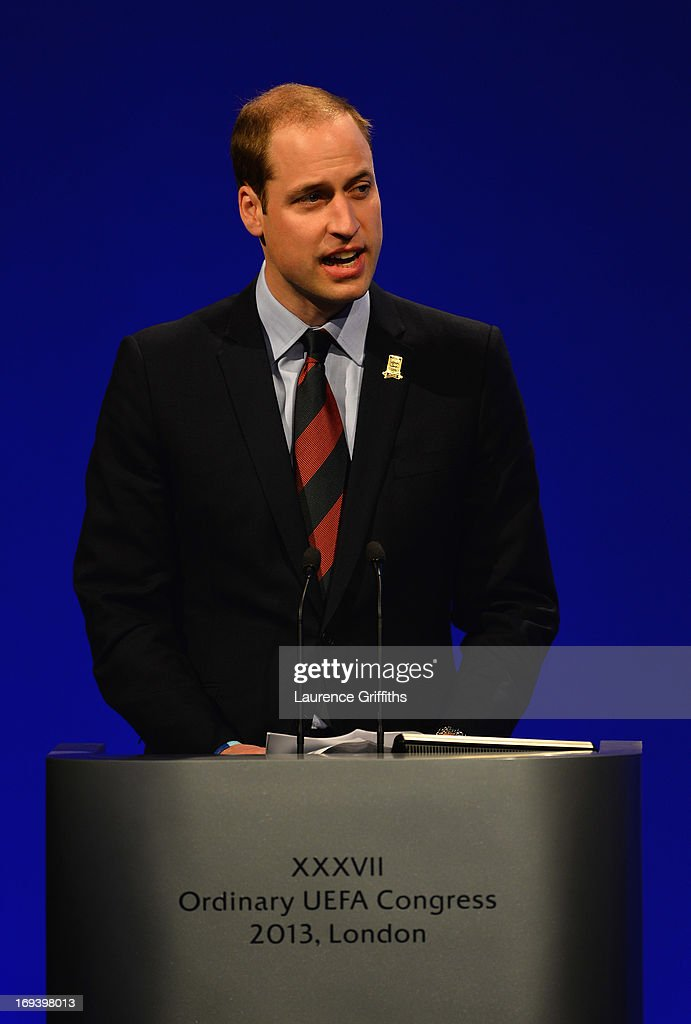 President of The FA Prince William, Duke of Cambridge addresses the room during the XXXVII Ordinary UEFA Congress at the Grovesnor House Hotel on May 24, 2013 in London, United Kingdom. The UEFA Champions League Final between Borussia Dortmund and Bayern Munich kicks off tomorrow at Wembley Stadium, London.
