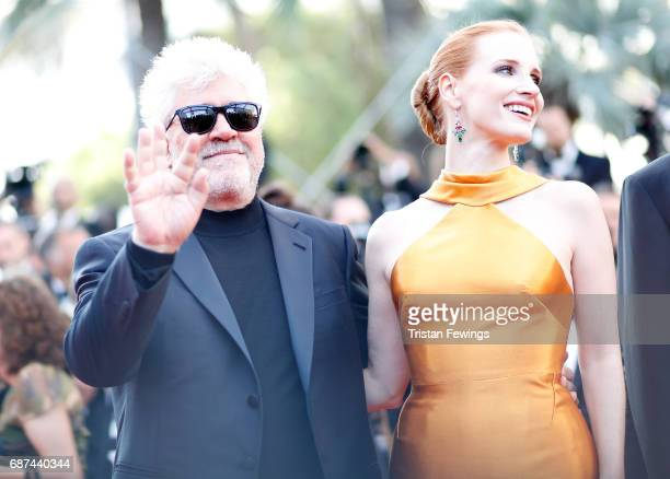 President of the Feature Film Jury Pedro Almodovar and jury member Jessica Chastain attend the 70th Anniversary of the 70th annual Cannes Film...