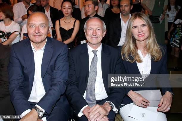 President of the 'Federation Francaise de la Couture' Pascal Morand Chairman Chief Executive Officer of L'Oreal JeanPaul Agon and his wife Sophie...