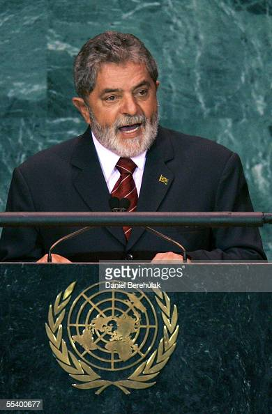 President of the Federative Republic of Brazil Luiz Ignacio Lula Da Silva addresses the United Nations General Assembly on September 14 2005 in New...