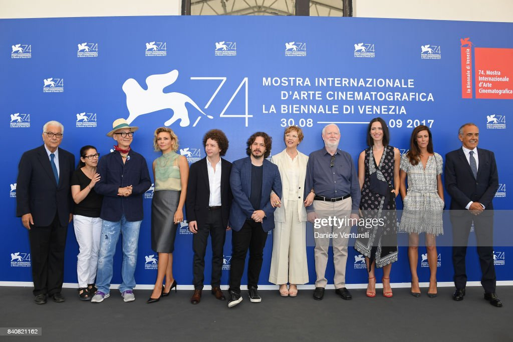President of the festival Paolo Baratta, 'Venezia 74' jury members Ildiko Enyedi, Yonfan, Jasmine Trinca, Michel Franco, Edgar Wright, president Annette Bening, members David Stratton, Rebecca Hall, Anna Mouglalis and Venice Film Festival Director Alberto Barbera attend the Jury photocall during the 74th Venice Film Festival at Sala Casino on August 30, 2017 in Venice, Italy.