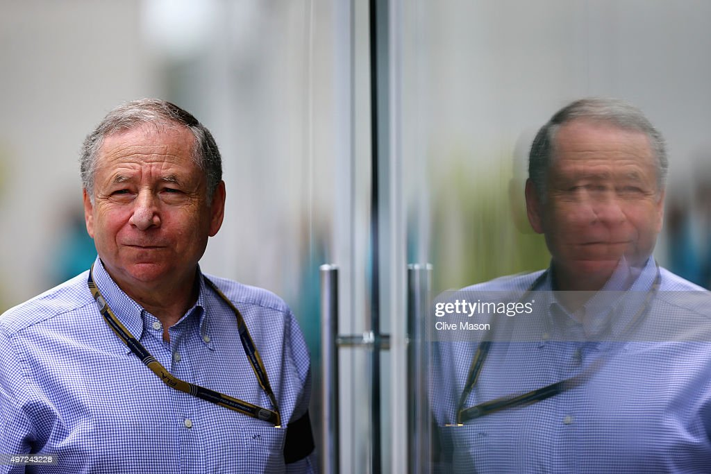 President of the FIA <a gi-track='captionPersonalityLinkClicked' href=/galleries/search?phrase=Jean+Todt&family=editorial&specificpeople=206323 ng-click='$event.stopPropagation()'>Jean Todt</a> is seen in the paddock wearing a black armband in memory of those who died in the Paris terror attack on Friday during the Formula One Grand Prix of Brazil at Autodromo Jose Carlos Pace on November 15, 2015 in Sao Paulo, Brazil.