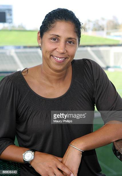 President of the FIFA Women's World Cup Organizing Committee Steffi Jones visits the Los Angeles Sol players on July 2 2009 in Los Angeles California