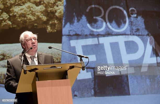 President of the FIPA festival Didier Decoin delivers his speech during the opening of the 30th annual FIPA in Biarritz on January 24 2017 / AFP /...