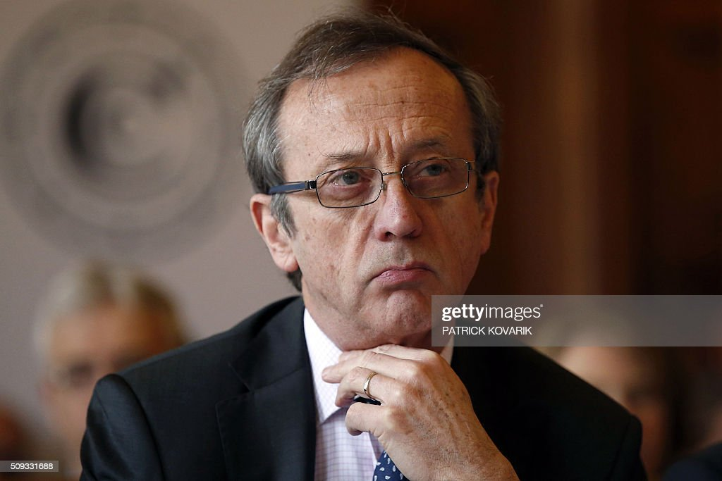 President of the first Chamber of France's public accounts court, Raoul Brietlooks on during the presentation of the annual report of the Court of Auditors on February 10, 2016 in Paris. / AFP / PATRICK KOVARIK