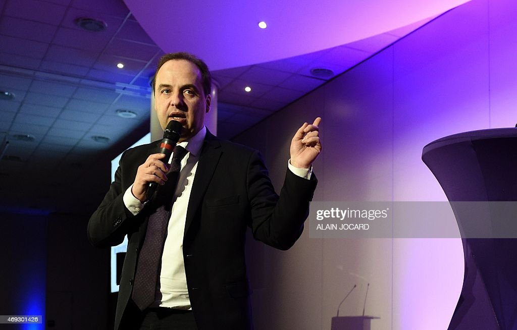 President of the French center-right party UDI <a gi-track='captionPersonalityLinkClicked' href=/galleries/search?phrase=Jean-Christophe+Lagarde&family=editorial&specificpeople=7499467 ng-click='$event.stopPropagation()'>Jean-Christophe Lagarde</a> talks during the UDI national council, on April 11, 2015 in Paris.