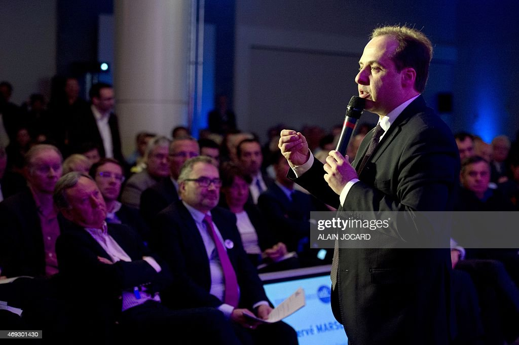President of the French center-right party UDI <a gi-track='captionPersonalityLinkClicked' href=/galleries/search?phrase=Jean-Christophe+Lagarde&family=editorial&specificpeople=7499467 ng-click='$event.stopPropagation()'>Jean-Christophe Lagarde</a> talks during the UDI national council, on April 11, 2015 in Paris. AFP PHOTO/ ALAIN JOCARD