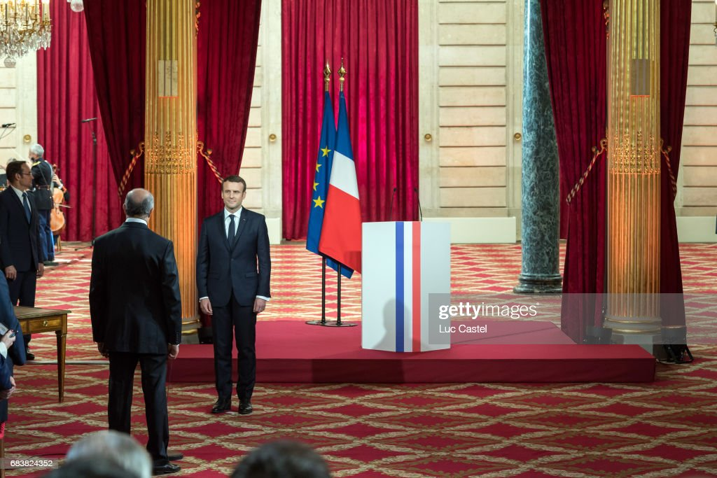 President of the French Constitutional Council, Laurent Fabius and Emmanuel Macron attend Emmanuel Macron Officially Inaugurated as French President at Elysee Palace on May 14, 2017 in Paris, France.