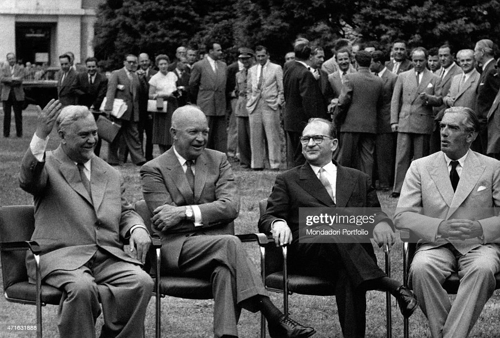 """Edgar Faure, Robert Anthony Eden, Nikolai Alexandrovich Bulganin, Dwight David Eisenhower at the Big Four Conference"""