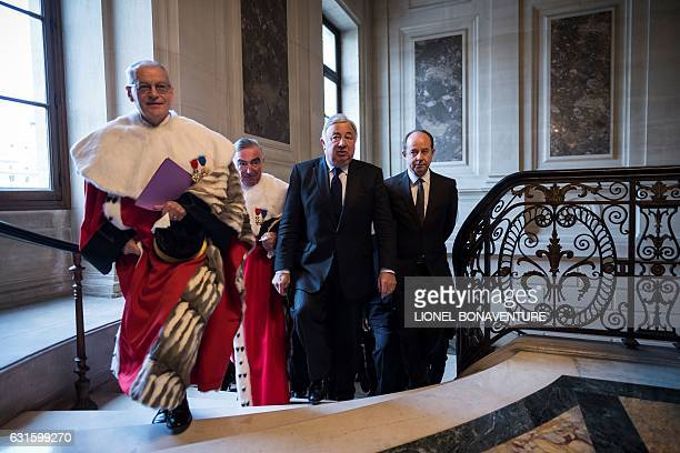 President of the French court of cassation Bertrand Louvel stands next to General Prosecutor at the court of cassation JeanClaude Marin French...