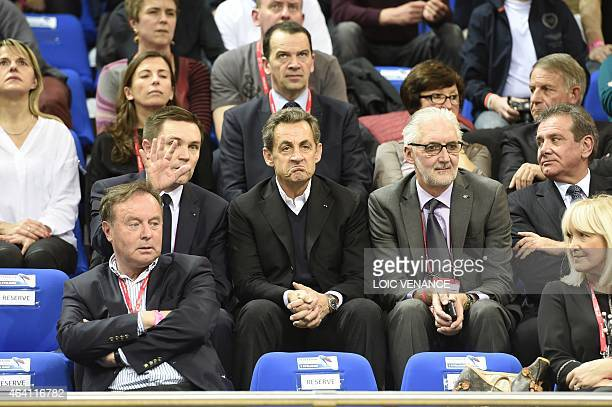 President of the French Cycling Federation David Lappartient Nicolas Sarkozy former French president and head of the French rightwing opposition UMP...