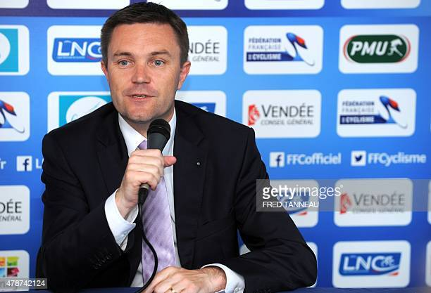 President of the French Cycling Federation David Lappartient speaks during a press conference in Chantonnay western of France on June 27 2015 during...