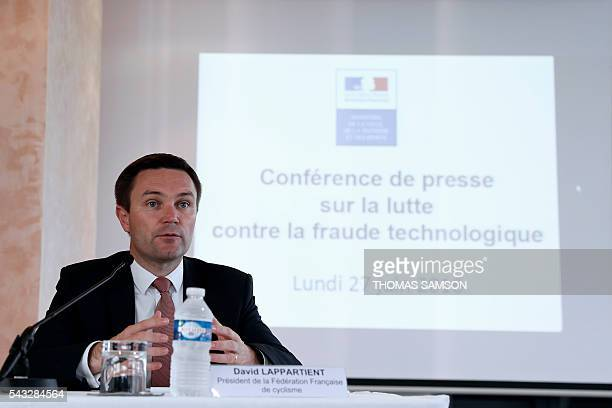 President of the French cycling federation David Lappartient speaks during a press conference on mechanical fraud in Paris on June 27 2016 Thermal...