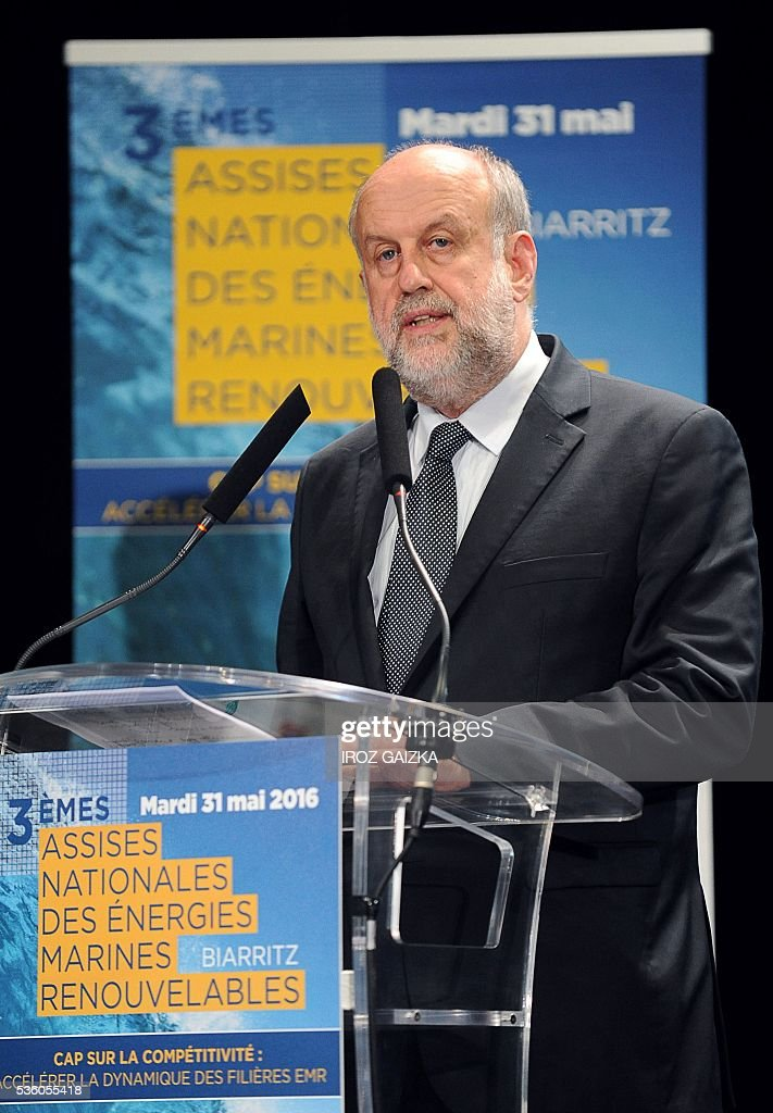 President of the French environment, energy and sustainable development implementation agency ADEME, Bruno Lechevin, delivers a speech during the third French National Conference of Renewable Marine Energy on May 30, 2016, in Biarritz, southwestern France. / AFP / IROZ