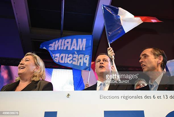 President of the French farright Front National party Marine Le Pen her companion the party's vicepresident Louis Aliot and Beziers mayor Robert...