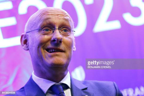 President of the French Federation of Rugby Bernard Laporte holds a press conference promoting France's candidacy for the 2023 Rugby World Cup on...