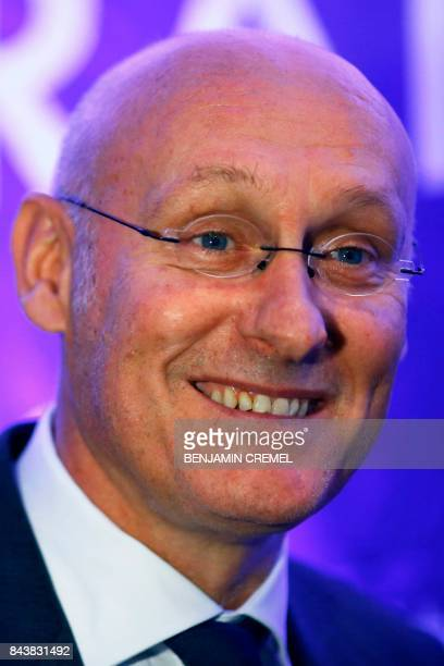 President of the French Federation of Rugby Bernard Laporte smiles during a press conference promoting France's candidacy for the 2023 Rugby World...