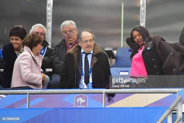 President of the French Football Federation Noel Le Graet and French sports minister Laura Flessel during the international friendly match between...