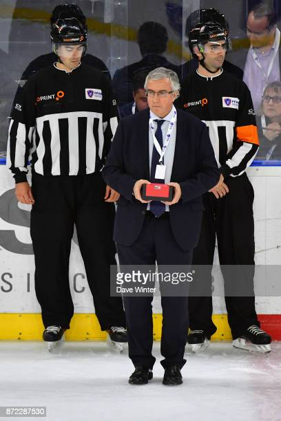 President of the French ice hockey federation Luc Tardif during the EIHF Ice Hockey Four Nations tournament match between France and Slovenia on...