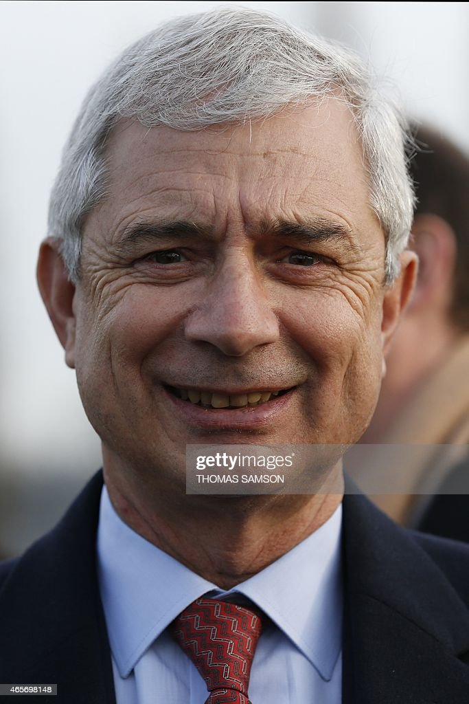 President of the French National Assembly, <a gi-track='captionPersonalityLinkClicked' href=/galleries/search?phrase=Claude+Bartolone&family=editorial&specificpeople=551950 ng-click='$event.stopPropagation()'>Claude Bartolone</a> is pictured prior to a visit of French Prime Minister at a building site near the A1 motorway in La Courneuve, near Paris, on March 9, 2015.